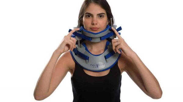 Cervico2000 neck brace for ambulatory 3D Spinal Decompression for symmetric and asymmetric traction