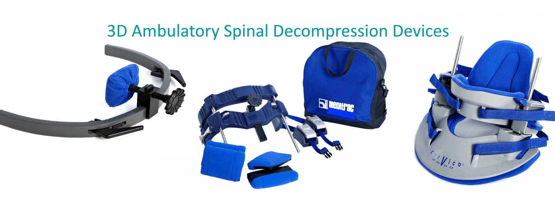 Meditrac 3D Ambulatory Spinal Decompression Devices, including the Vertetrac spinal decompression device, Cervico 2000 & DBS Scoliosis Rail Attachment, for neck & lower back pain relief, vertetrac disc bulges