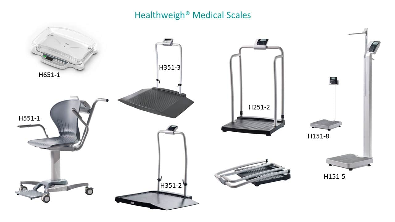 Healthweigh Medical Scales including baby scales, wheelchair scales, physician scales, chair scales, handrail scales. Also used on Turier physician scales distributor page